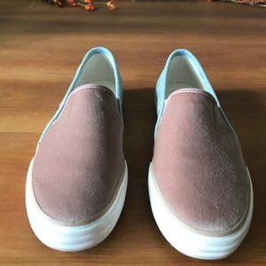 Keds -Rose colored velvet and denim slip ons